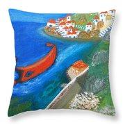 Hydra Island Throw Pillow