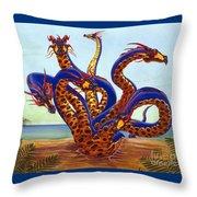 Hydra On Beach Throw Pillow