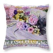 Hydrangea Anemones Throw Pillow