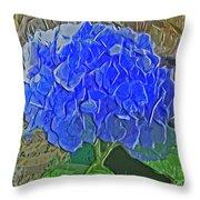 Hydrangea Blues Throw Pillow