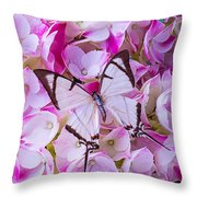 Hydrangea With Bright White Butterfly Throw Pillow