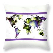 Hydrangea World Map Throw Pillow