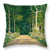 Hydrangeas On A Garden Path Throw Pillow