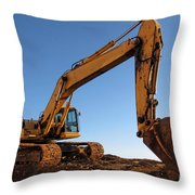 Hydraulic Excavator Throw Pillow