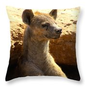 Hyena In Den Throw Pillow