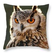 Hypnoteyes  Eurasian Eagle Owl Throw Pillow