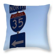 I 35 N. Oklahoma Throw Pillow