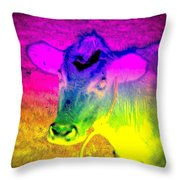 I Think I Am The Most Colorful Cow You Know  Throw Pillow