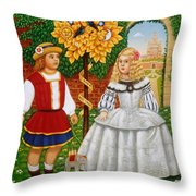 I Had A Little Nut Tree, 1995 Oils And Tempera On Panel Throw Pillow