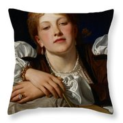 I Know A Maiden Fair To See Throw Pillow by Charles Edward Perugini