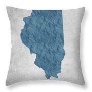 I Love Chicago Illinois - Blue Throw Pillow