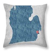 I Love Detroit Michigan - Blue Throw Pillow