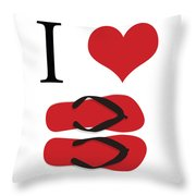 I Love Flip Flops Throw Pillow