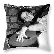 I Love My Guitar Series Bw Throw Pillow