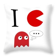 I Love Packman Throw Pillow
