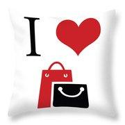 I Love Shopping Throw Pillow
