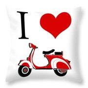 I Love Vespa Throw Pillow