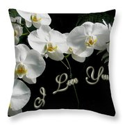 I Love You Greeting - White Moth Orchids Throw Pillow