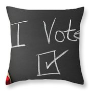 I Voted Sign On Chalkboard Throw Pillow