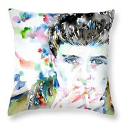 Ian Curtis Smoking Cigarette Watercolor Portrait Throw Pillow