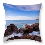 Ibiza Coastline Throw Pillow