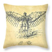 Icarus Flying Machine Patent Drawing-vintage Throw Pillow