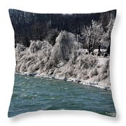 Ice Along The River Throw Pillow