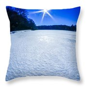 Ice And Snow Frozen Over Lake On Sunny Day Throw Pillow