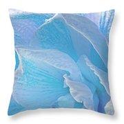 Ice Blue Amaryllis Abstract Throw Pillow