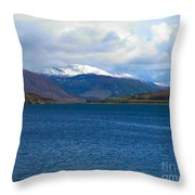 Ice Capped Mountains At Ullapool Throw Pillow