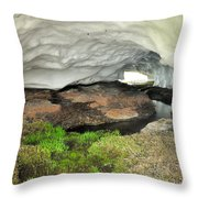Ice Cave At The Mountains Throw Pillow
