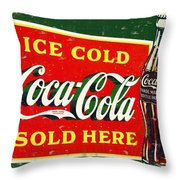 Ice Cold Coca-cola Sold Here Throw Pillow