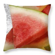 Ice Cold Watermelon Slices 1 Throw Pillow by Andee Design