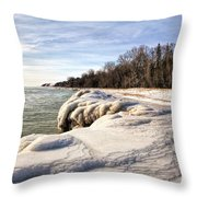 Ice Covered Shores Of Lake Michigan Throw Pillow