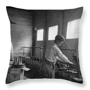 Ice Cream Cone Factory Throw Pillow