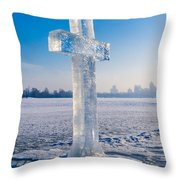Ice Cross On The Frozen Dniepr Throw Pillow