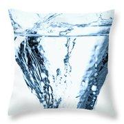 Ice Cube Splashing Into Water Throw Pillow