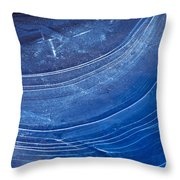 Ice Curve In Blue Throw Pillow