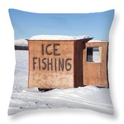 Ice Fishing Hut Throw Pillow