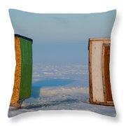 Ice Fishing Huts Canada Macro Throw Pillow