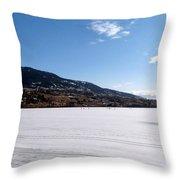 Ice Fishing On Wood Lake Throw Pillow