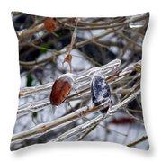 Ice Incased Leaves Throw Pillow