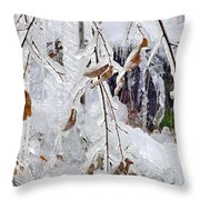 Ice Leaves Throw Pillow