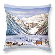 Ice Magic-lake Louise Winter Festival Throw Pillow