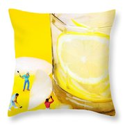 Ice Making For Lemonade Little People On Food Throw Pillow