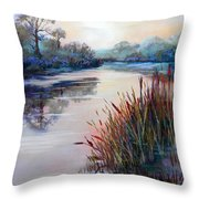 Ice On The Canal Throw Pillow by Heather Harman
