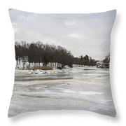 Ice On The Ipswich River Throw Pillow