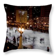 Ice Rink In Chicago  Throw Pillow