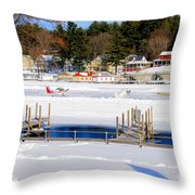 Planes On The Ice Runway In New Hampshire Throw Pillow