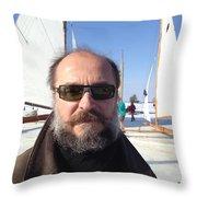 Ice Sailing On The Hudson Beard Contest Throw Pillow